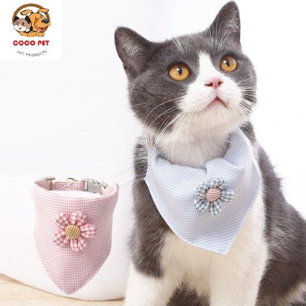 Yếm Vải Đeo Cổ/ Khăn Quàng Cổ Cho Chó Mèo Nơ Hoa Phong Cách Hàn Quốc