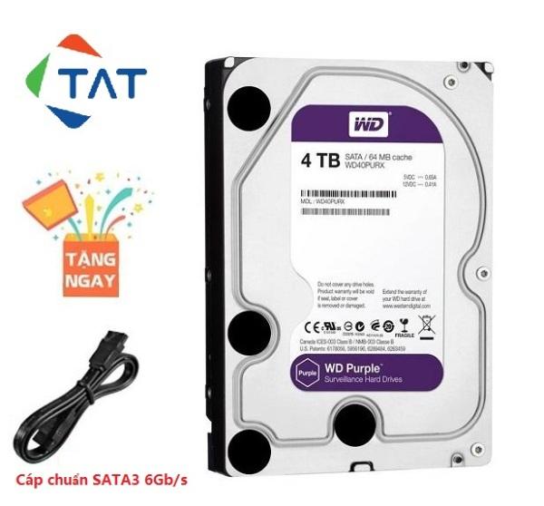 Bảng giá Ổ Cứng HDD WD Purple 4TB Tím 3.5 inch Chuyên Dùng Camera Karaoke (4TB Western tím phiên bản mới) Phong Vũ