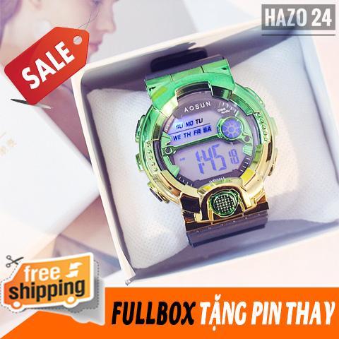 Đồng hồ nữ, đồng hồ dây cao su nữ, đồng hồ thể thao nữ Unisex Aosun đèn led chịu nước tốt 3ATM,dây cao su viền màu Titan cá tính,chống xước (tặng kèm pin) - dovanivn bán chạy