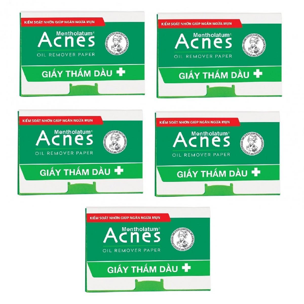 Combo 5 gói Giấy thấm dầu Acnes 50 tờ/ gói (hàng mẫu)