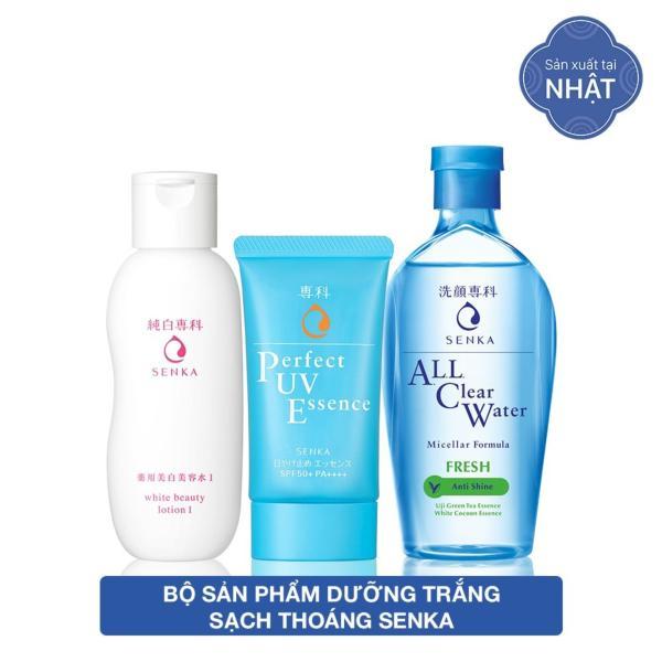 Bộ sản phẩm dưỡng trắng sạch thoáng Senka (Perfect UV Essence 50g + Lotion 200ml + All clear fresh 230ml) tốt nhất