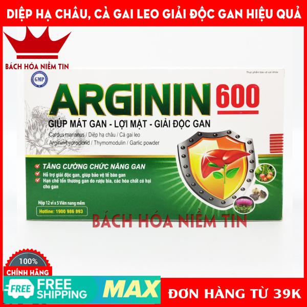 Viên uống mát gan ARGININ600 - Cà gai leo, actiso, tỏi đen, diệp hạ châu - giúp giải độc gan, lợi mật hiệu quả - Hộp 60  viên chuẩn GMP Bộ Y tế nhập khẩu