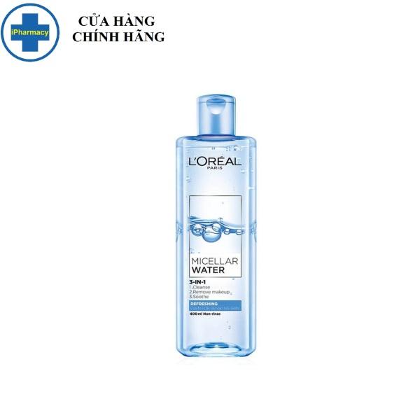 Nước Tẩy Trang LOREAL Tươi Mát Cho Da Dầu, Hỗn Hợp 400ml Micellar Water 3-in-1 Refreshing Even For Sensitive Skin