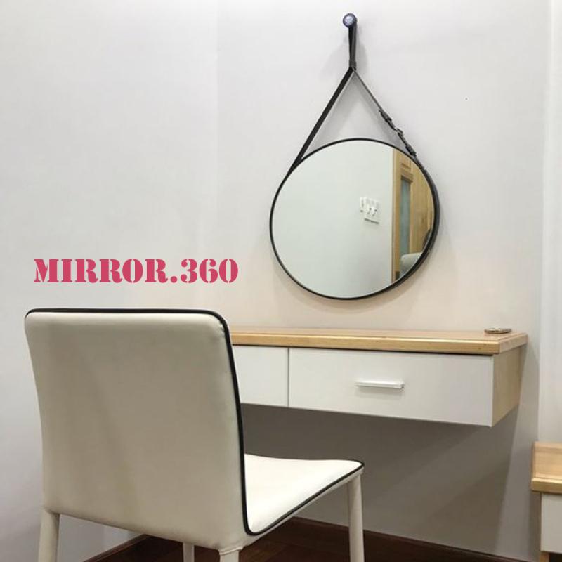 (Size 40cm) Gương Tròn Treo Tường Viền Da Simili (Màu đen). Tặng kèm phụ kiện treo gương.
