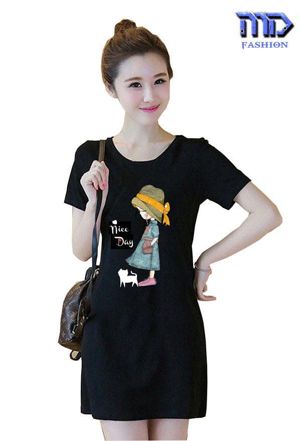 Đầm suông in cô gái hoạt hình thời trang nữ MD0001