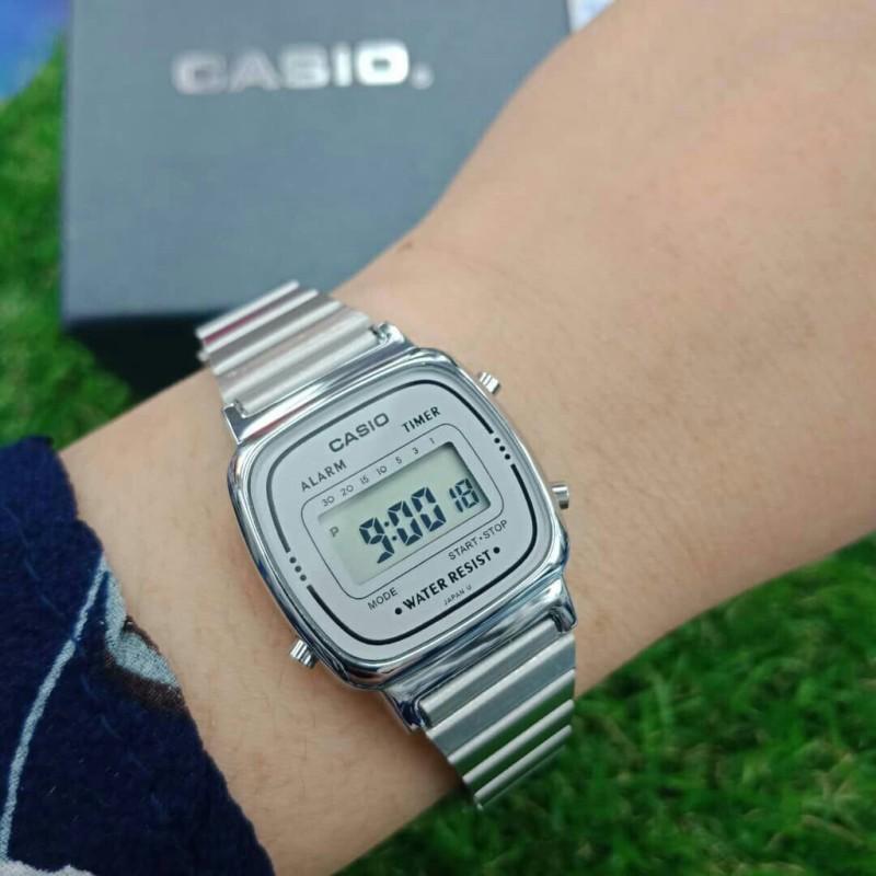Đồng hồ Nữ Casio La670 Silver - Silver mặt đen - Chính hãng - Fullbox