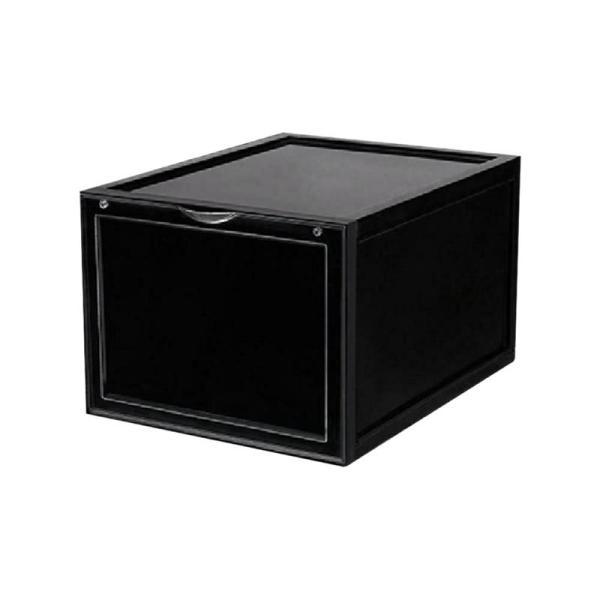 Drop Front Entry Stackable Shoe Storage Box Bins Sneaker Boxes Organizer