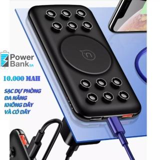(Bảo hành 12 tháng) Sạc dự phòng không dây hỗ trợ sạc nhanh 10000mAh Power Bank , sạc không dây hỗ trợ sạc cùng lúc 4 thiết bị thumbnail