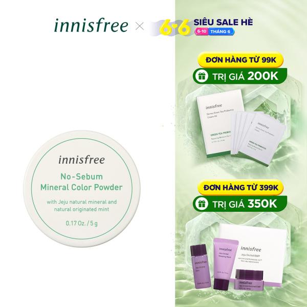 Phấn phủ kiềm dầu dạng bột khoáng có màu innisfree No Sebum Mineral Color Powder #2 Green 5g