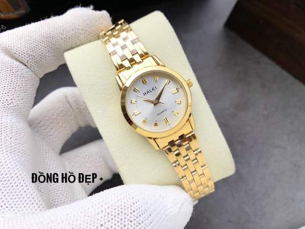 đồng hồ nữ dây vàng mặt trắng HLP01 chống nước chống xước bán chạy