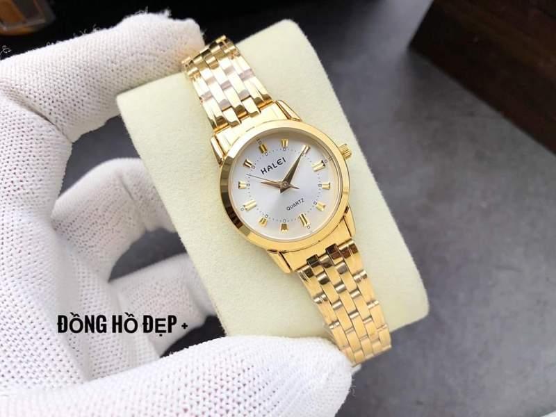đồng hồ nữ đẹp halei mặt trắng HLN01 chống nước chống xước