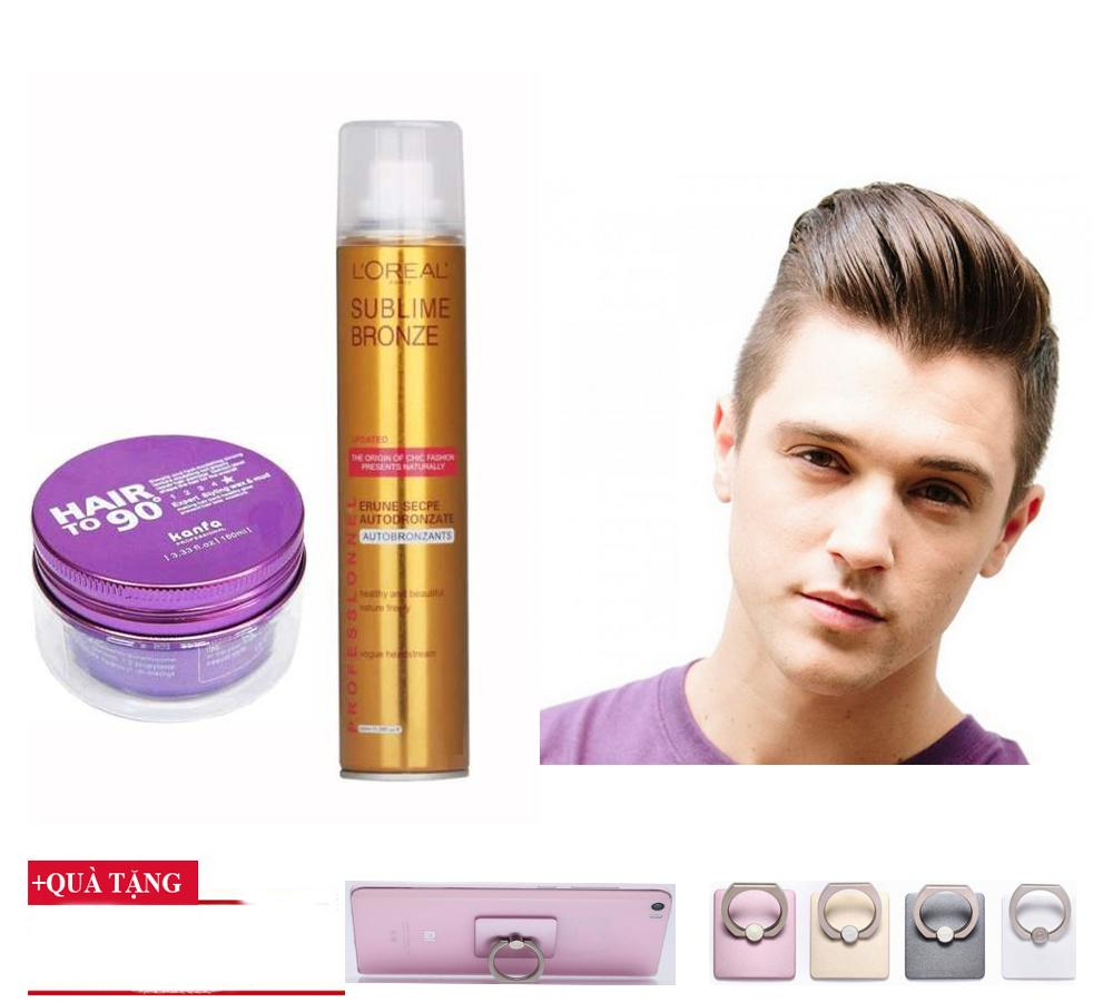 Bộ đôi gôm loreal và sáp Kanfa hair to 90,( Tặng khuyên đỡ điện thoại),Giữ nếp siêu tốt, sản phẩm của DLT store, MS 0125