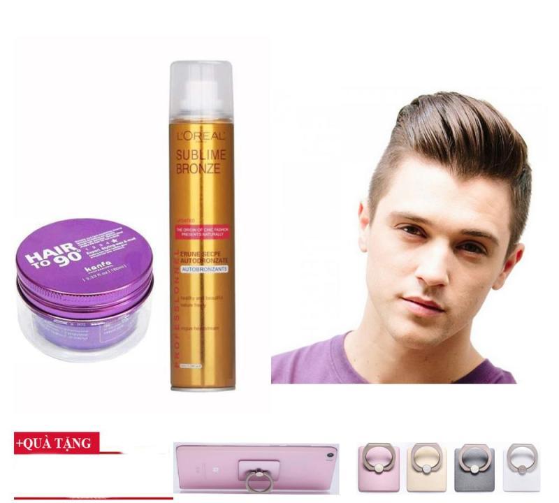 Bộ đôi gôm loreal và sáp Kanfa hair to 90,( Tặng khuyên đỡ điện thoại),Giữ nếp siêu tốt, sản phẩm của DLT store, MS 0125 giá rẻ