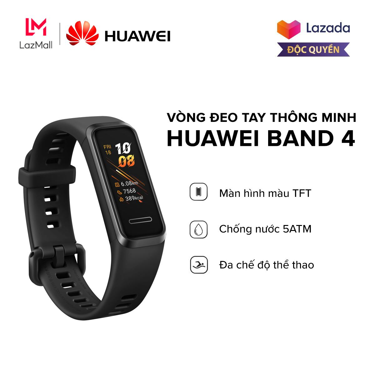 Giá [HÀNG CHÍNH HÃNG - ĐỘC QUYỀN LAZADA] Vòng đeo tay thông minh Huawei Band 4 - Màn hình màu TFT - TruSleep 2.0 - Chống nước 5ATM - Đa chế độ thể thao