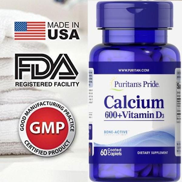 HOT Sales 85% -(HSD 29.3.2021) Viên uống bổ sung Canxi và Vitamin D3  Puritans Pride Calcium 600Timed Release 60 viên