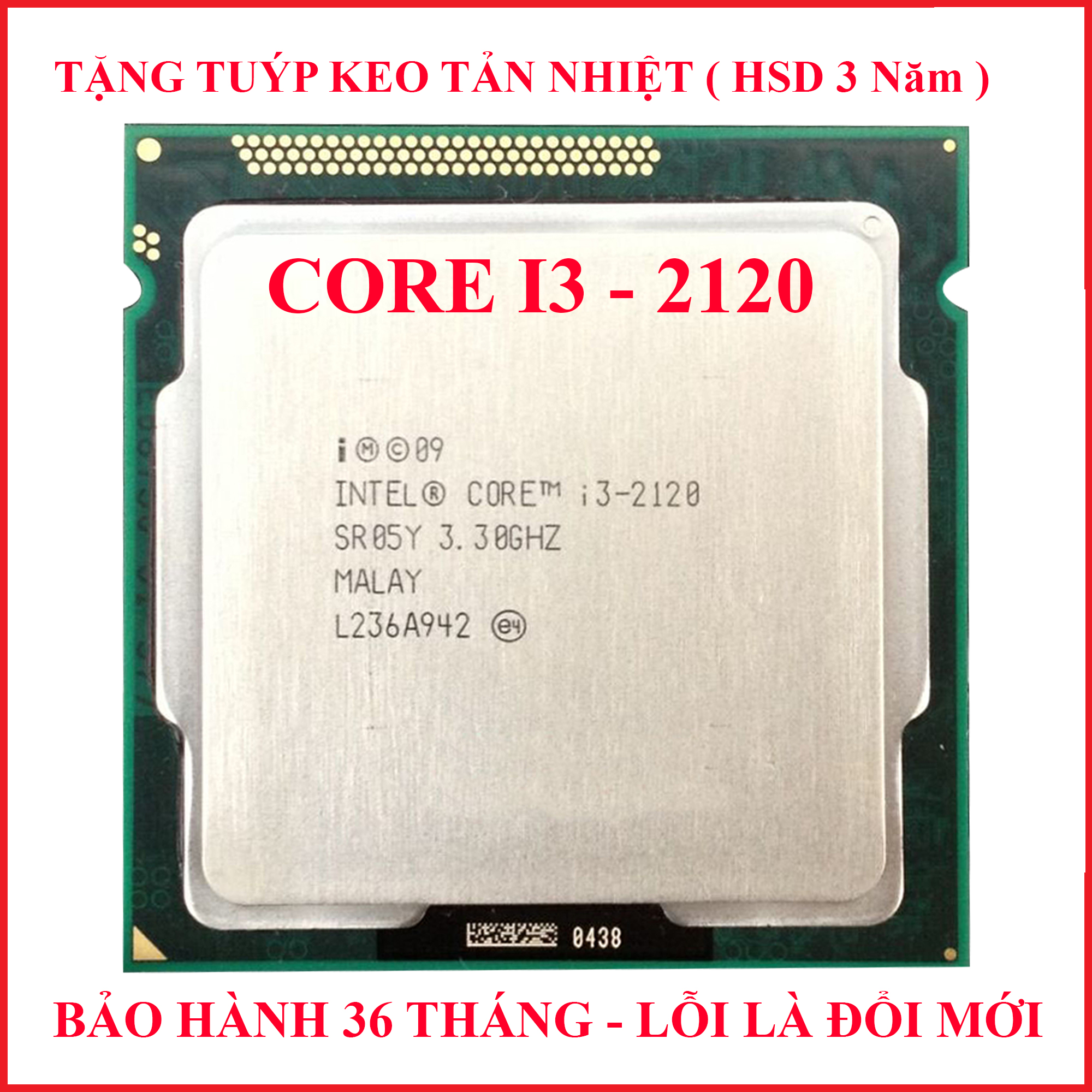 Bộ Vi Xử Lý CPU CORE I3 2120 PC Socket 1155 Lắp Main H61 Z68 B75 Chạy RAM DDR3 1G 2G 4G 8G Bus 1333/1600 Chip Sandy Bridge Thế Hệ 2 Tốc độ Chíp  3.3GHZ  Cấu Tạo 2 Lõi – 4 Luồng Hàng Chính Hãng Đang Ưu Đãi Giá