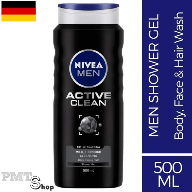 [Đức] Sữa tắm sạch sâu 3in1 Nivea men Active Clean Deep 500ml | 250ml than hoạt tính hương nam tính, mạnh mẽ nhập khẩu
