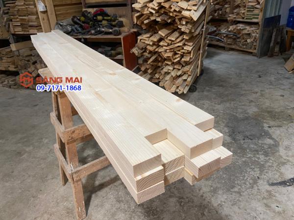 [MS108] - Thanh gỗ thông 3cm x 6cm x dài 160cm + bào láng 4 mặt