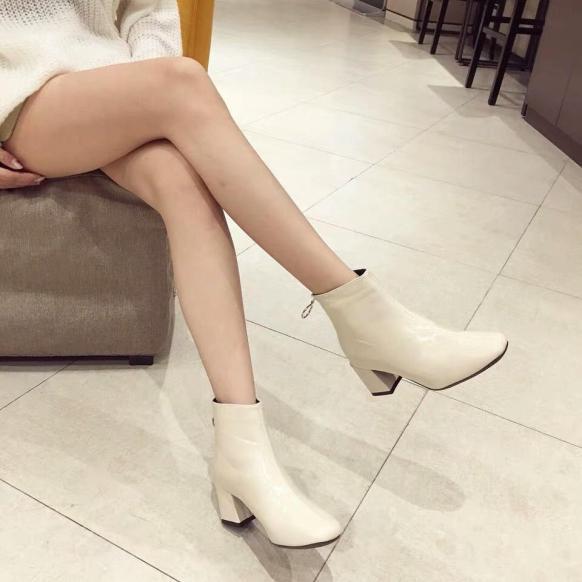 Giày boot nữ da đế cao khoá sau - Bốt nữ cao gót 7p 7 phân màu trắng đen nâu thời trang hàn quốc đi học đi làm quyến rũ hot 2020 giá rẻ