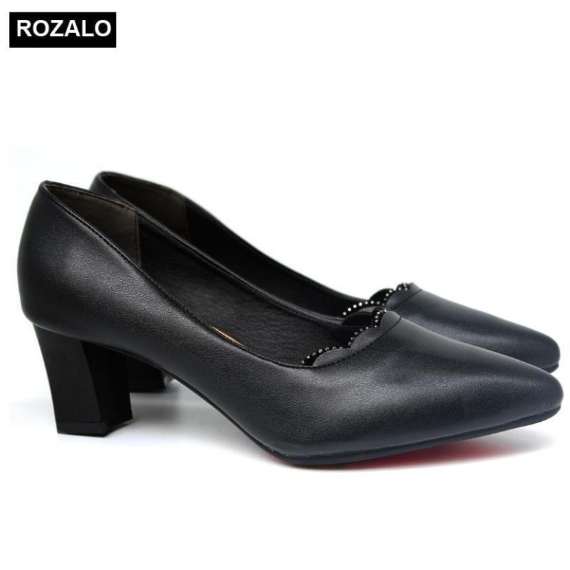 Giày cao gót vuông 5P đính đá mũi nhọn Rozalo R5645 giá rẻ