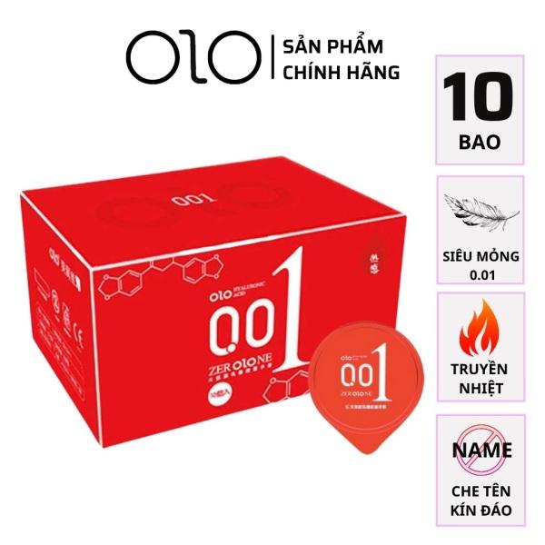 Bao cao su OLO 001 đỏ nữ thần siêu mỏng 10 BCS [Tặng 1 Chiếc Bao cao su nam nữ Durex] cao cấp