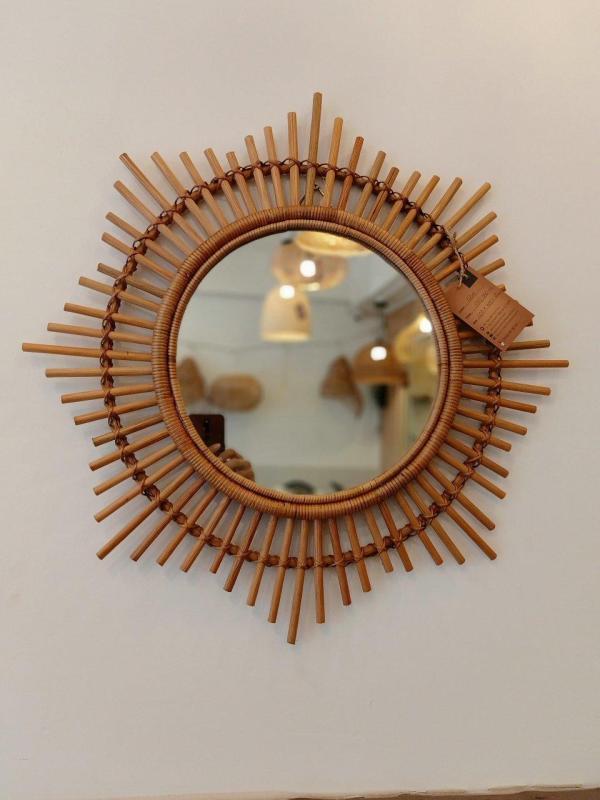 Gương mây tre, gương trang điểm mặt trời, gương trang trí nhà cửa G04
