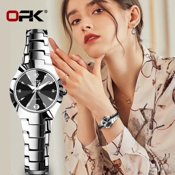 Nơi bán Đồng Hồ Nữ OPK 2021 thời trang mới thép vonfram chống thấm nước giá rẻ hiển thị lịch đồng hồ thạch anh thông thường