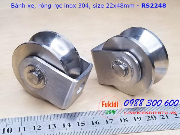 Ròng rọc, bánh xe cửa cổng, bánh xe định hướng inox 304 size 22x48mm - RS2248U, RS2248V, RS2248H