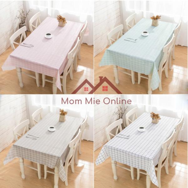 Khăn trải bàn caro nhựa PVC chống thấm nước màu sắc nhẹ nhàng trang trí bàn ăn chống bụi chống dầu