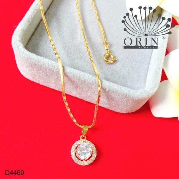 Dây chuyền mạ vàng 24k dạng mì xoắn mặt tròn viền đính đá thiết kế cao cấp Orin D4469