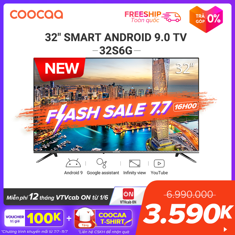 [SẢN PHẨM MỚI] SMART TV  HD Coocaa 32 Inch - Android 9.0 TV - Wifi - Viền Mỏng - Model 32S6G - Tivi Giá Rẻ Chân Viền Kim Loại Giá Tốt Không Thể Bỏ Qua