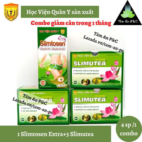 Combo giảm cân 1 hộp viên uống Slimtosen Extra+3 hộp trà Slimutea Học Viện Quân Y dùng trong 1 tháng nhập khẩu