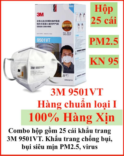 Hộp nguyên gồm 25 cái khẩu trang 3M 9501VT hàng chuẩn xịn 3M chuyên dùng chống bụi, lọc mùi, lọc bụi siêu mịn PM2.5, chống virus, khẩu trang có van lọc bụi vừa cho cả nam và nữ
