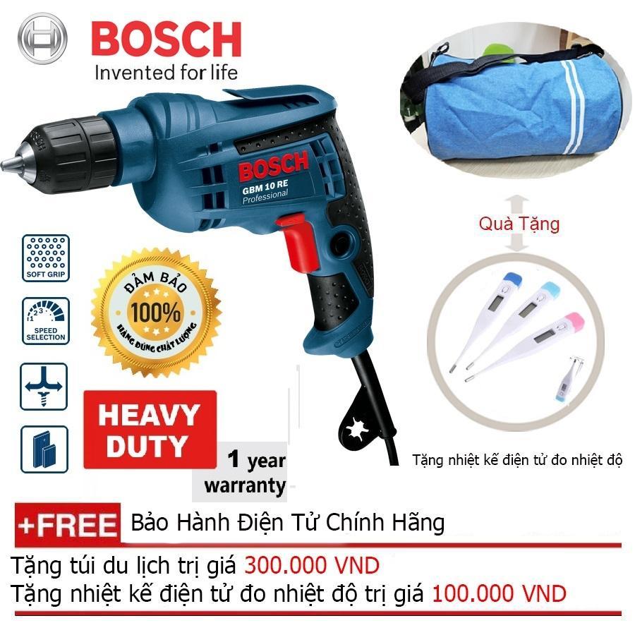 Máy khoan Bosch GBM 10 RE (Xanh đen) + Quà tặng balo du lịch