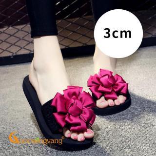 Dép lê nữ đính hoa màu hồng sen dép quai ngang nữ 3cm đế EVA GLD009 Cuocsongvang thumbnail