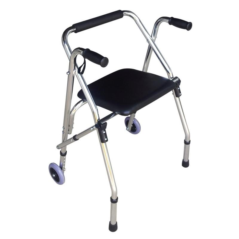 Khung tập đi LUCASS W9 – Dùng cho bệnh nhân phục hồi chức năng đi lại - Khung nhôm cao cấp, Có ghế ngồi bọc da cho người già, người khuyết tật – HÀNG CHÍNH HÃNG - BH 6TH