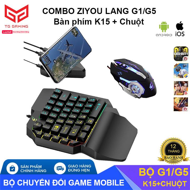Combo Trọn Bộ Bàn Phím K15 + Bộ Chuyển Đổi G1 + Chuột chơi game PUBG Mobile cho Android, IOS, iPad như PC - Hãng phân phối chính thức