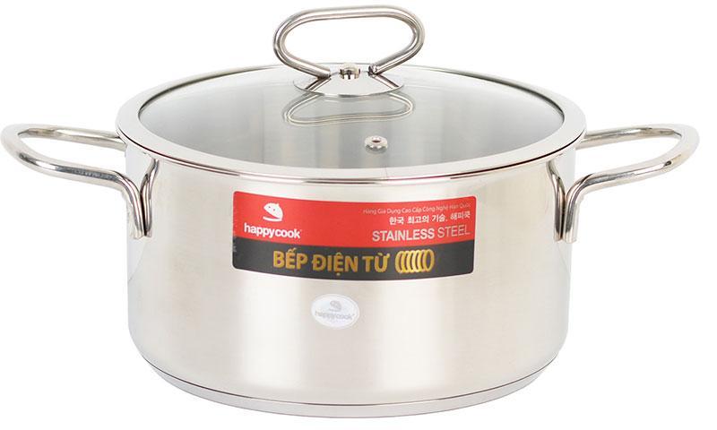 Nồi inox 3 đáy cao cấp bếp từ nắp kính 24cm Happy Cook Delux N24-DLG(Bạc)