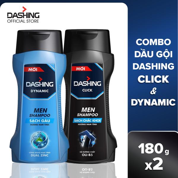 Combo 2 dầu gội Dashing Dynamic sạch gàu + Click chắc khỏe dành cho năm giới 180g/chai, thành phần an toàn, không gây kích ứng da đầu, phù hợp với mọi loại da đầu giá rẻ