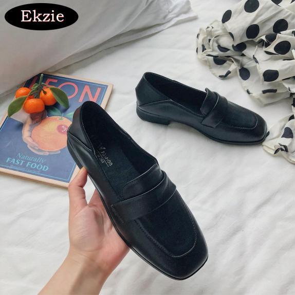2021 mới phong cách Hàn Quốc phong cách hoang dã kiểu Anh giày lười retro mũi vuông gót dày của phụ nữ giày đơn giày da nhỏ giá rẻ