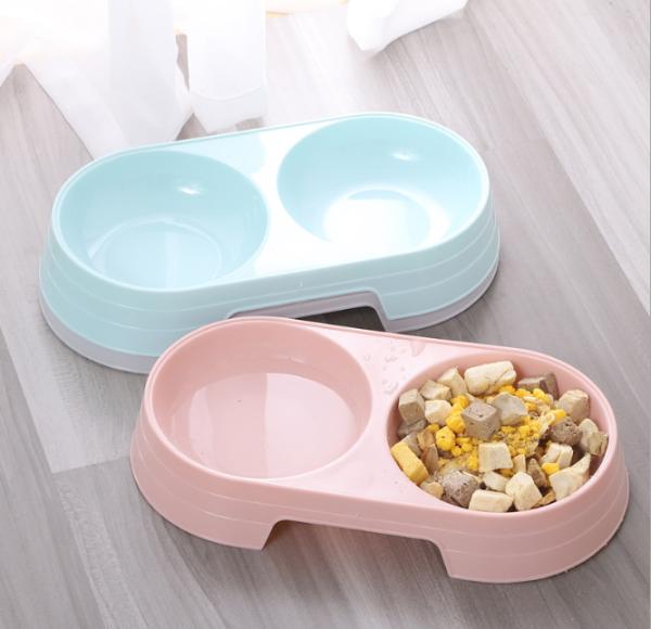 Bát ăn đôi cho chó mèo (chất liệu nhựa), nhỏ gọn, máng trơn giúp tránh được tình trạng thú nhai bát ăn