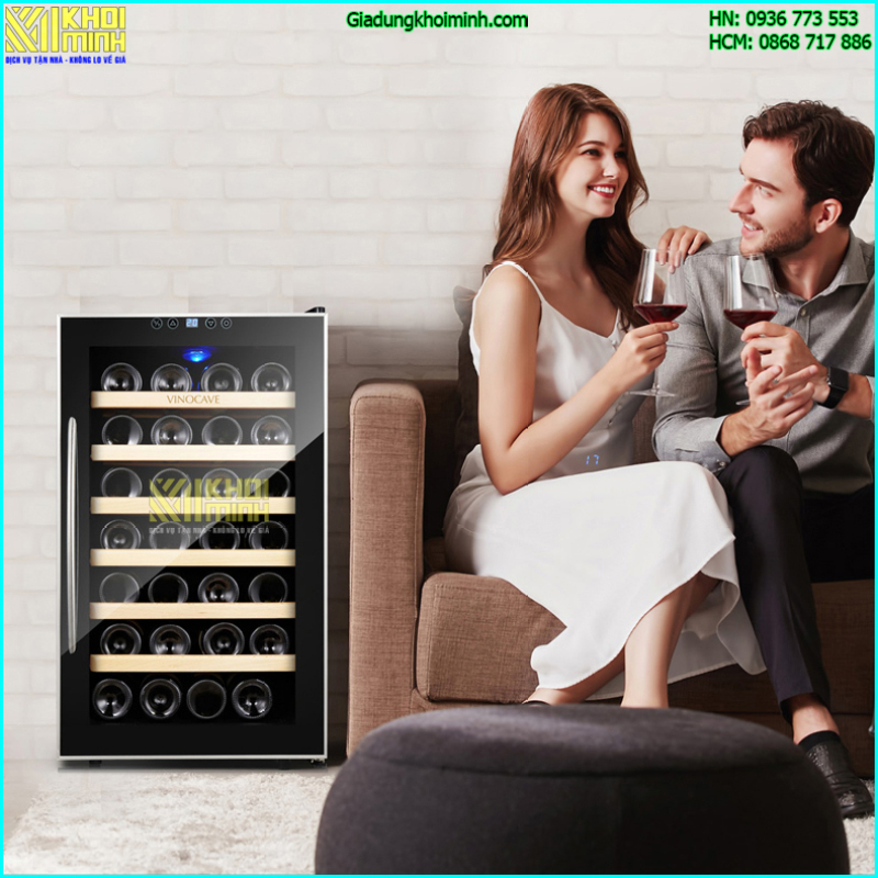Tủ đựng rượu Vinocave loại 28 chai: kính cường lực 4 lớp chống UV, nhiệt độ từ 12 đến 18 độ C
