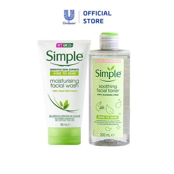 Bộ Chăm Sóc Da Mặt SIMPLE: Sữa Rửa Mặt và Nước Hoa Hồng