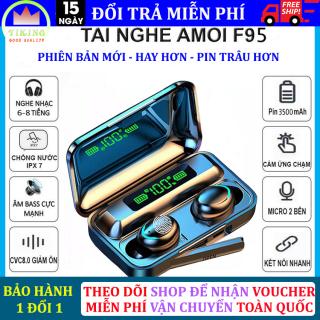 Tai Nghe không dây Bluetooth Amoi F95 có đèn LED chống nước - chống ồn - micro HD - tự động kết nối - kén sạc kiêm sạc dự phòng - dùng cho các loại hệ điều hành thumbnail