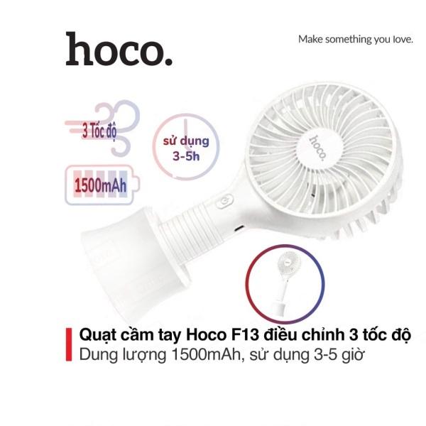 Quạt cầm tay mini Hoco F13 dung lượng 1500mAh giá đỡ tiện lợi tích hợp 3 chế độ gió