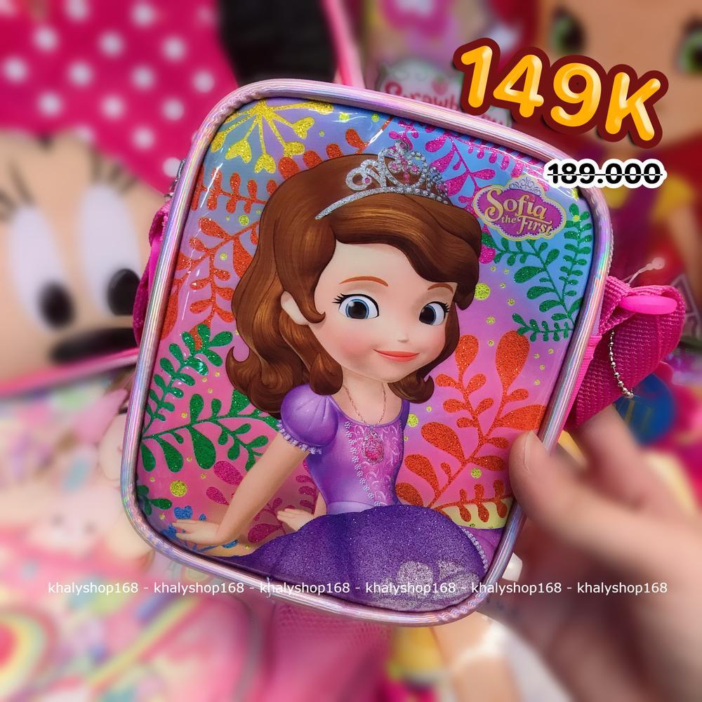 Giá bán Túi đeo chéo hình công chúa Sofia lá cây 7 màu hồng viền tím cho bé gái (Thái Lan) - 200SFNG2027111 - (11x4x15cm)