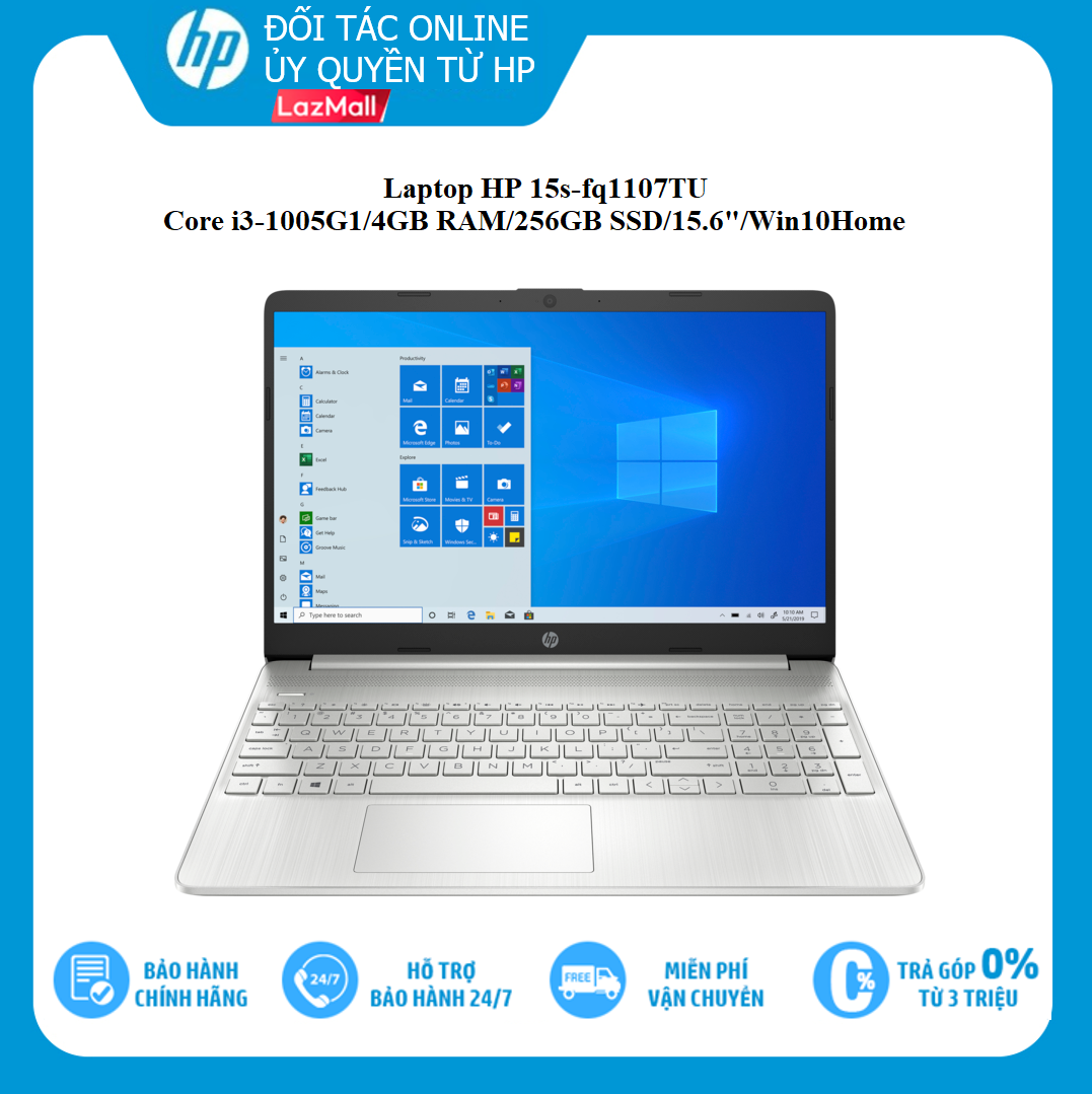 """[Voucher giảm 15%, Tặng Office 365] [TRẢ GÓP 0%] Laptop HP 15s-fq1107TU, Core i3-1005G1(1.20 GHz,4MB),4GB RAM,256GB SSD,Intel UHD Graphics,15.6""""HD,Wlan ac+BT,3cell,Win 10 Home 64,Silver,1Y WTY-193Q3PA - Hàng Chính Hãng"""