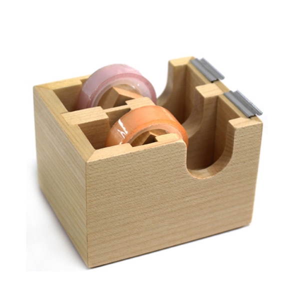 Mua Creative Wooden Double Tape Dispenser Adhesive Masking Tape Organizer Cutter Stand Holder Desktop Office School Supplies