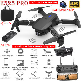 (NEW 2021) - TẶNG TÚI ĐỰNG- Flycam mini E525 PRO 4K hai camera kép, chức năng tự động tránh chướng ngại vật ba hướng, thời gian bay 18 phút, có thể zoom hoặc phong to ảnh, chế độ bay không đầu - nhào lộn 360° - BẢO HÀNH 3 THÁNG