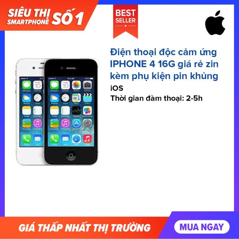 Điện thoại độc cảm ứng IPHONE 4 16G giá rẻ zin kèm phụ kiện pin khủng